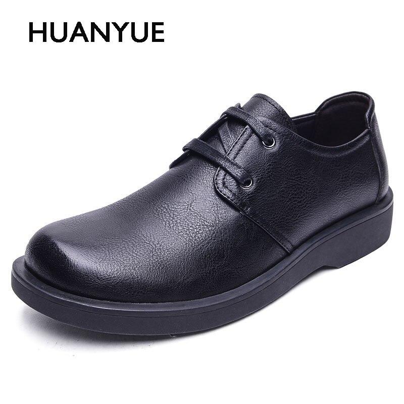 New Autumn/Winter Men Shose High Quality Pu Leather Men Casual Shoes Retro Low Martin Mens Shoes Zapatos Hombre Black 38-44