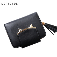 LEFTSIDE 2017 New Cute Cat Womens Small Short Wallets And Purses Tassel PU Leather Women Wallet I Clip Money Credit Card Holder
