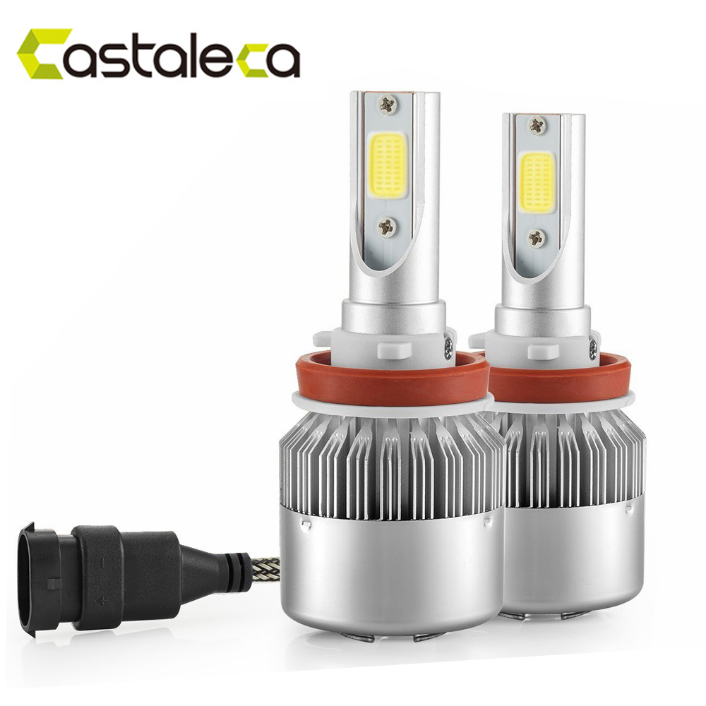 CASTALECA 1Pair C6 LED Car Headlight All In One AUTO BULB H1 H3 H7 H11 H4 H13 9004 9005 9006 9007 led Bulb Headlamp KIT