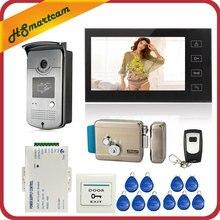 7 인치 터치 스크린 컬러 비디오 도어 폰 인터콤 시스템 1 모니터 + 1 RFID 액세스 LED 카메라 + 전기 제어 도어록