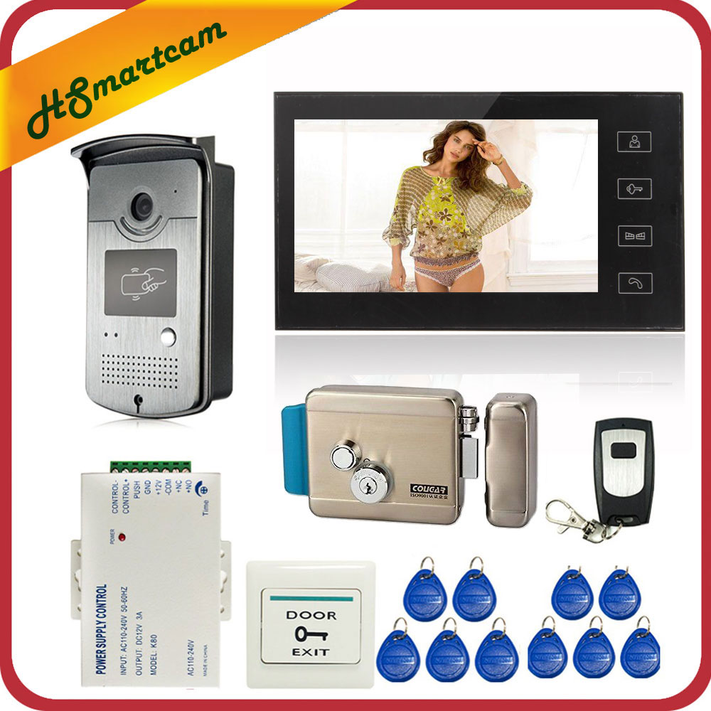 7 inch Touch Screen Color Video Door Phone Intercom Entry System 1 Monitor+1 RFID Access LED Camera + Electric Control Door Lock-in Video Intercom from Security & Protection