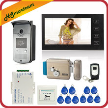 7 inch Touch Screen Color Video Door Phone Intercom Entry System 1 Monitor+1 RFID Access LED Camera + Electric Control Door Lock