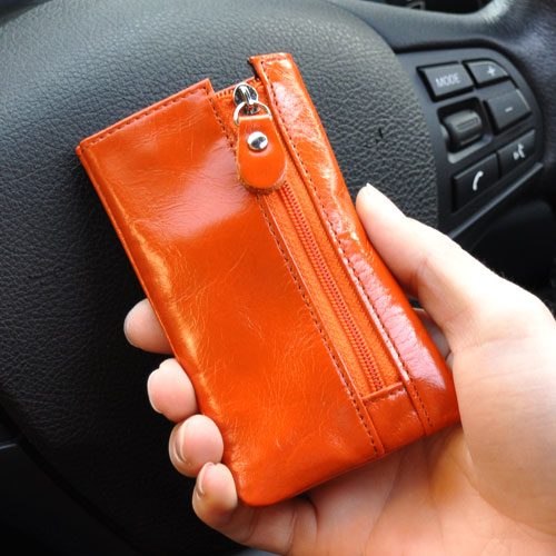 Fashion Men / Women Genuine Leather Car Key Wallet, with side zip pocket, Solid color