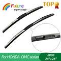 """1 set Wiper blades for HONDA CIVIC sedan (2008),24""""+26"""",car wiper,3 Section Rubber, windscreen wiper, Car accessory"""