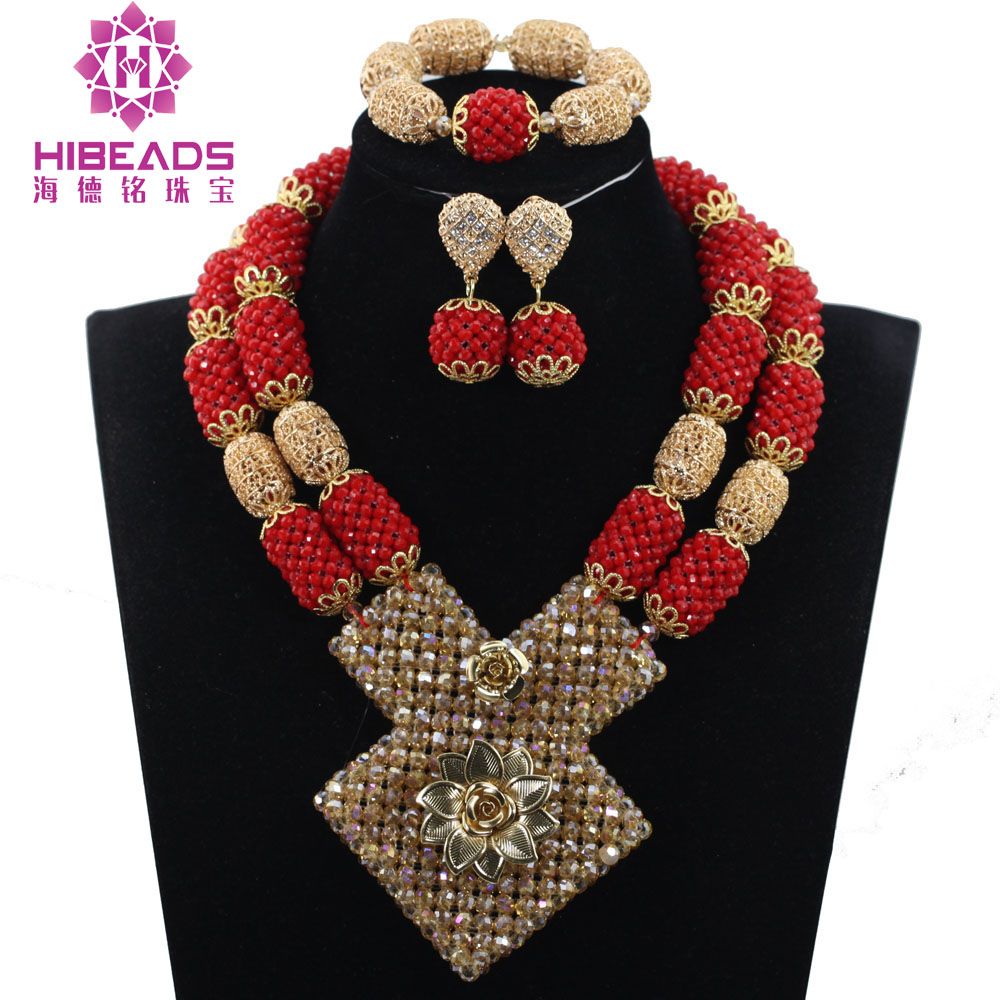 Dubai Indian Bridal Statement Necklace Set Luxury Red and Gold Nigerian Wedding African Beads Jewelry Set Free Shipping ABH403 hot red statement choker necklace african wedding beads for women set dubai costume bridal lace jewelry set free shipping abf550