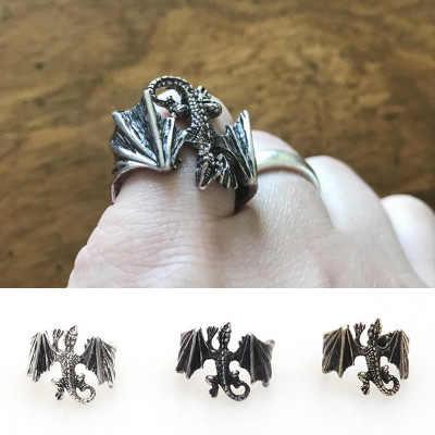 1 шт. мужские и женские панк латунные крутые крылья летающее кольцо с китайским драконом байкер рок Unix животное изменяемое кольцо по оптовой цене новый дизайн