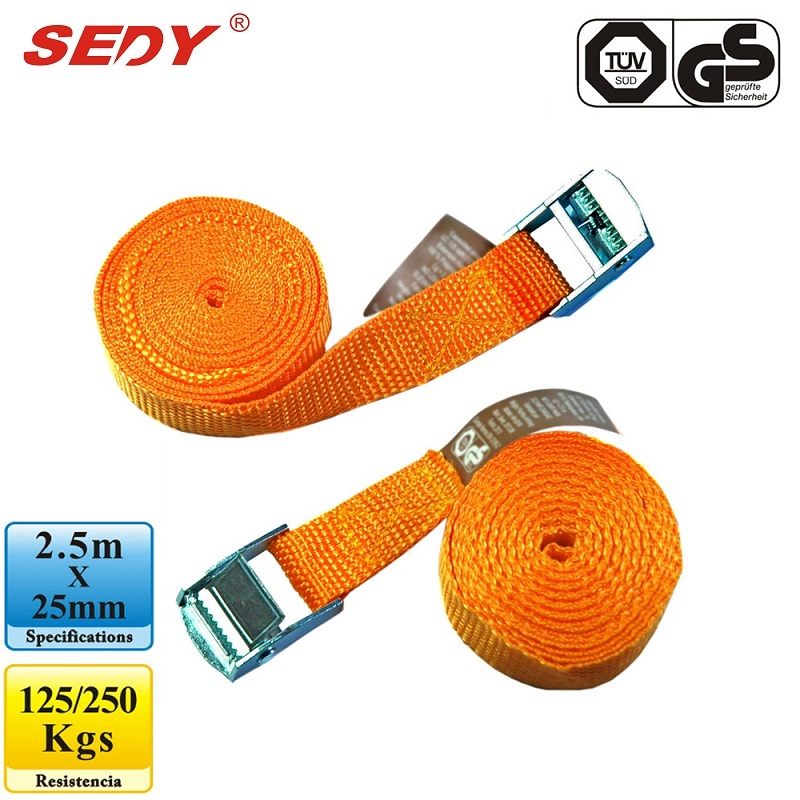 SEDY Cambuckle Tie Down Straps 2.5m x 25mm Ratchet Strap Retractable Adjustable Belt Ropes Cord 97101 tie down straps 5m x 25mm ratchet strap retractable adjustable belt ropes cord