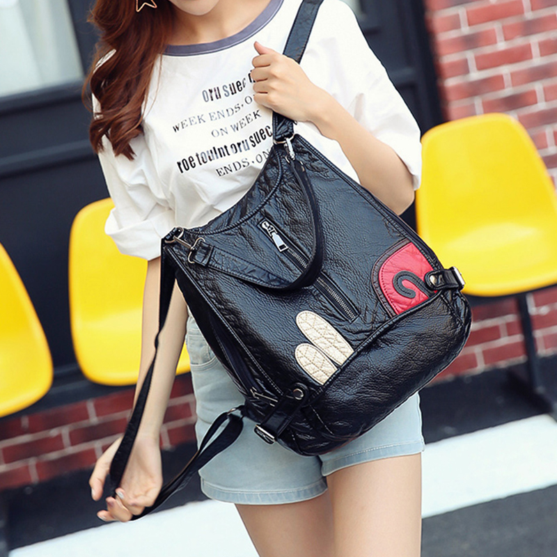 цена на 2017 vintage backpack 100% Real Soft pu Leather Women Backpack Woman Fashion Ladies Strap Laptop Bag Daily Backpack Girl School