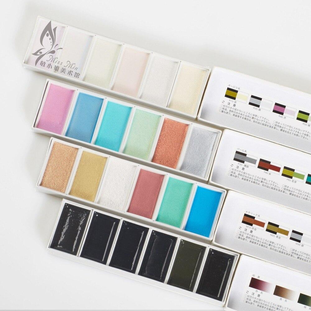 japan wasser farbe mit drei typ perle/metall/auro farben 6 farbige