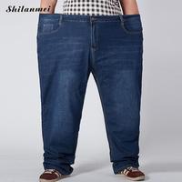 2017 Men Jeans Plus Size Middle Waist Flexible Denim Pants Pocket Button Jeans Slim Solid Trousers