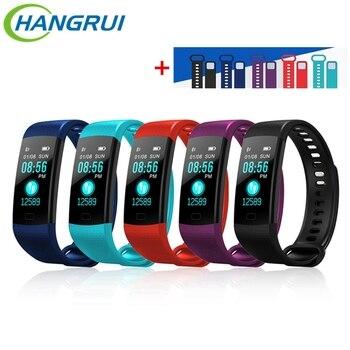 Hangrui Y5 Pulseira Inteligente Rastreador De Fitness Heart Rate Rastreador À Prova D' Água Esporte Alça Pulseira Inteligente Pulseira + Y5 Eletrônico