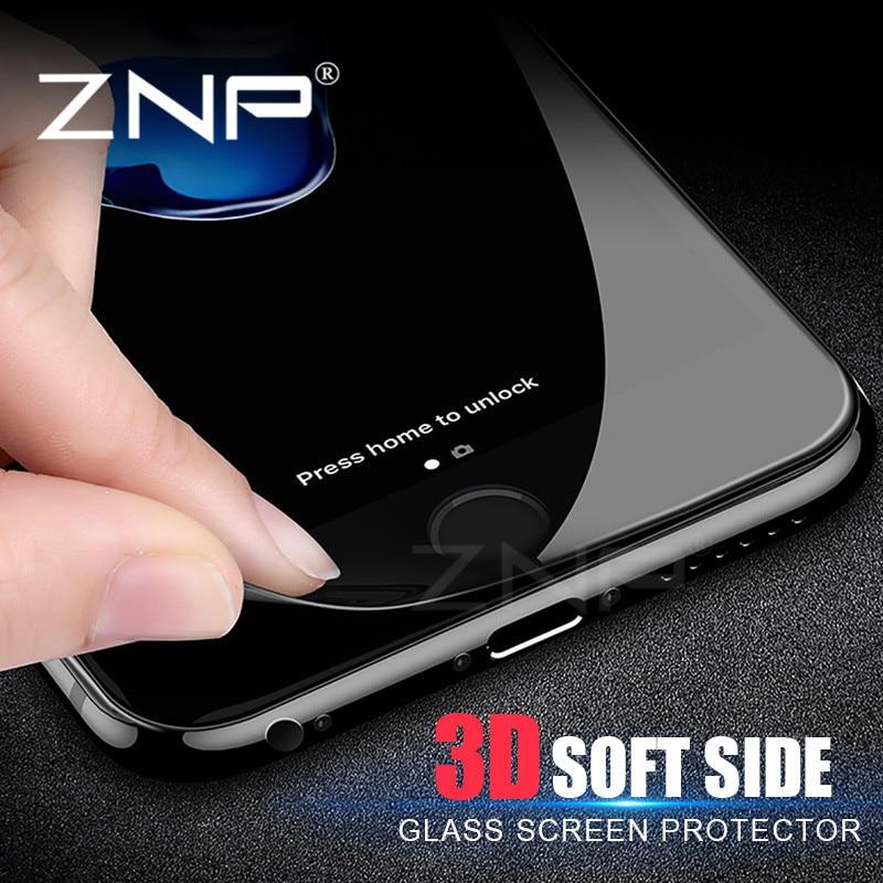 ZNP 3D Soft edge <font><b>Full</b></font> <font><b>Screen</b></font> <font><b>Protector</b></font> For iPhone 7 6 6s 8 Plus <font><b>Tempered</b></font> <font><b>Glass</b></font> 3D <font><b>Curved</b></font> cover for iPhone 8 6 7 <font><b>Protector</b></font> <font><b>Glass</b></font>