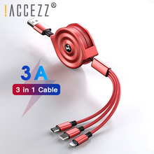 !ACCEZZ 3 in 1 Retractable Charging Cable Micro USB Type C For iPhone X XS Xiaomi Portable Fast Data Cables