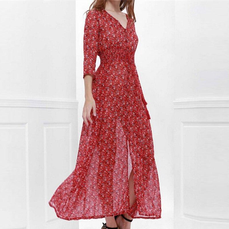 Sexy Summer Boho Long Maxi Dress Elegant Floral Print V-Neck Lace Up Split Chiffon Dresses Casual Beach Party Sundress