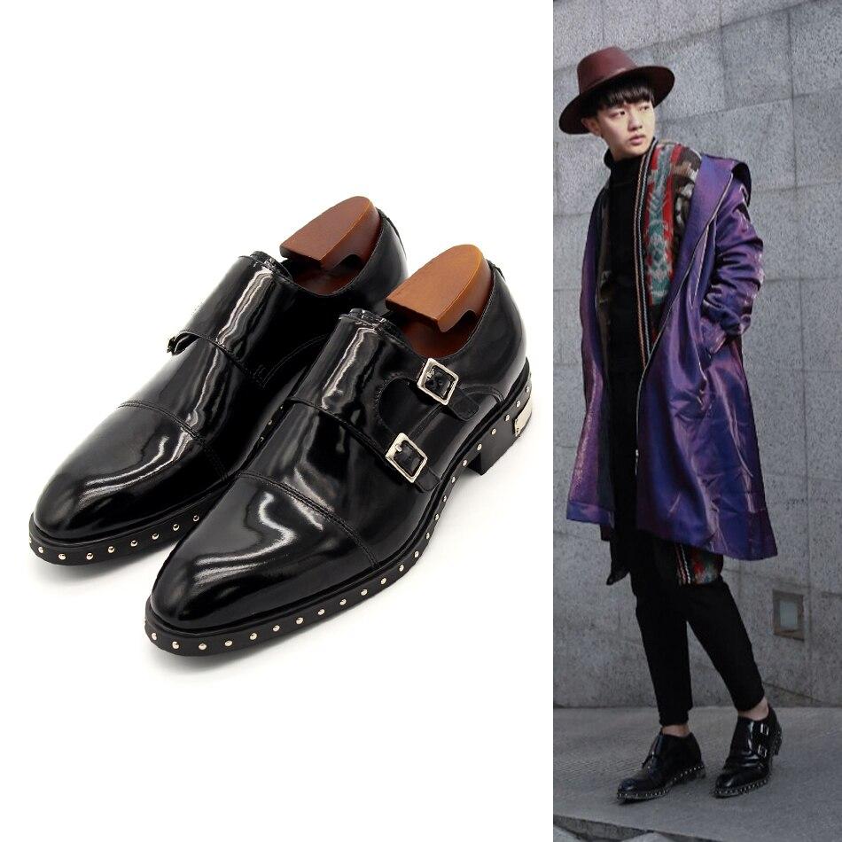 Black Monk Strap Rivets Formal Suit Dress Shoes Flat heel Men Wedding Party Shoes Autumn Gentleman
