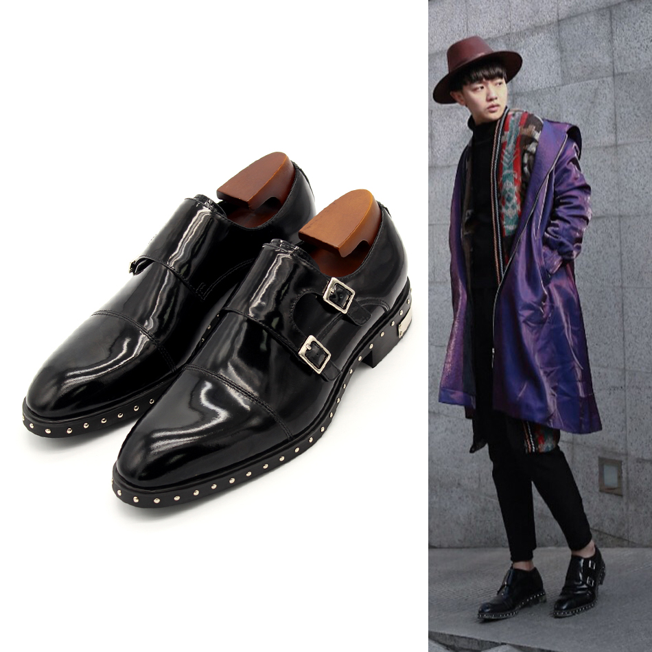 Black Monk Strap Rivets Formal Suit Dress Shoes Flat heel Men Wedding Party Shoes Autumn Gentleman Italian Dress Oxfords