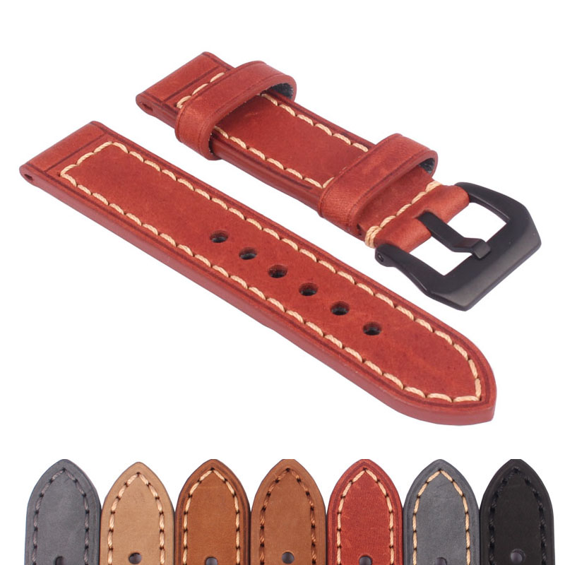 Acheter 2 Obtenir 10% OFF) 20 22 24 26mm Noir Boucle Brun À La Main  Véritable Réel bracelet en cuir Montre-Bracelet Bandes 9783fba87d3