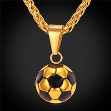 Nuevo Fútbol fútbol Colgantes Collares Joyería de Moda Deportiva de la Bola Esmalte Hombres de Cadena de Acero Inoxidable de Color Oro Bijoux GP2299