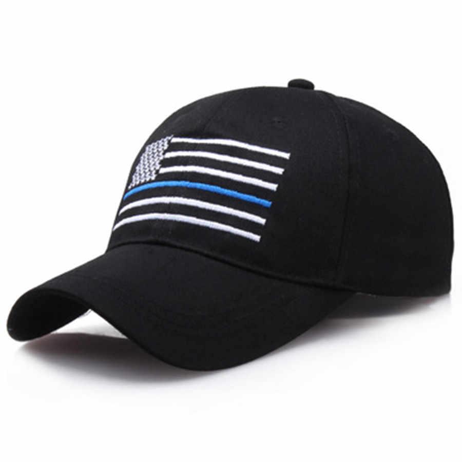 2019 חדש אופנה אמריקאי דגל דק כחול קו דגל נמוך פרופיל טקטי כובעי לרקום בייסבול כובע מתכוונן כובע חיצוני ספורט