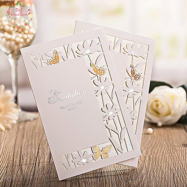 Big Heard Love 20setslots Butterfly wedding invitation cards