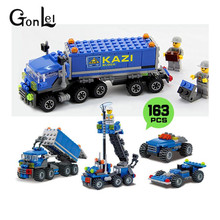 GonLeI 163pcs KAZI kids Christmas gift Enlighten educational toys Dumper Truck DIY toys building blocks children toys playmobile