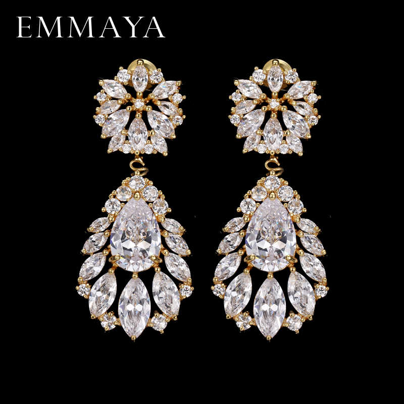 EMMAYA Fashion Classic Lady Gold Color Crystal CZ Zircon Jewelry Crown Drop Earrings For Women Girls Gift Brincos