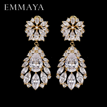EMMAYA Fashion Classic Lady Gold Color Crystal CZ Zircon Jewelry Crown Drop Earrings For Women Girls Gift Brincos comtex syl149042 lady watch fashion classic gold color sweet ladylike