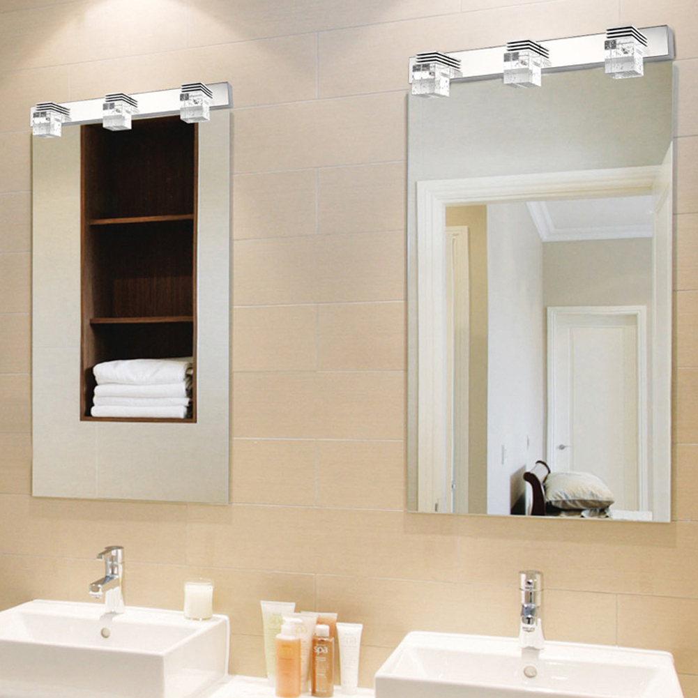 Modern Led Crystal Mirror Lamp Bathroom Mirror Light Led Wall Sconce Bedroom Living Room ...