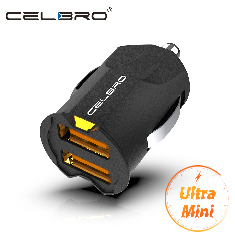 CELBRO Smallest Mini USB Car Charger Adapter 2A Dual USB 2 port Samsung