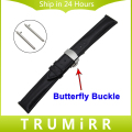 18mm 20mm 22mm Quick Release Watch Band Butterfly Buckle Strap Upper Genuine Leather Belt Wrist Bracelet Universal Black Brown