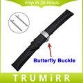 18mm 20mm 22mm hebilla de correa de liberación rápida del reloj band butterfly pulsera correa de pulsera de cuero genuino superior universal negro marrón