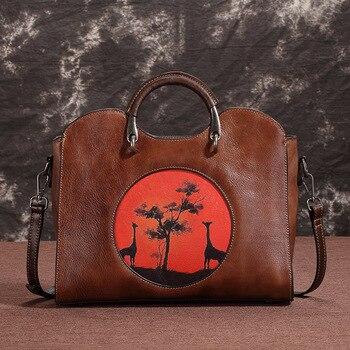Vintage Genuine Leather Women's HandBags Ladies Messenger Bags Totes Tassel Designer Crossbody Shoulder Bag Luxury Hand Bags