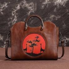 Vintage Genuine Leather Women's HandBags Ladies Messenger Bags Totes Tassel Desi
