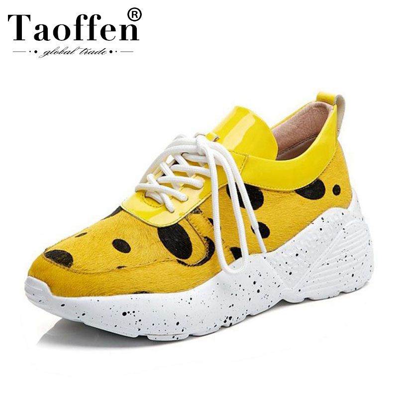 Taoffen Women Real Leather Chunky Sneakers Outdoor Horse Hair Black Dot Thick Bottom Fitness Hiking Shoes