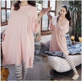 Hot sale summer style pink solid big size shirt striped trousers Cotton maternity clothes Pajama Set for pregnant sleepwear