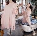 Venda Hot summer estilo rosa sólida tamanho grande camisa listrada calças maternidade roupas de Algodão Conjunto de Pijama para sleepwear grávida