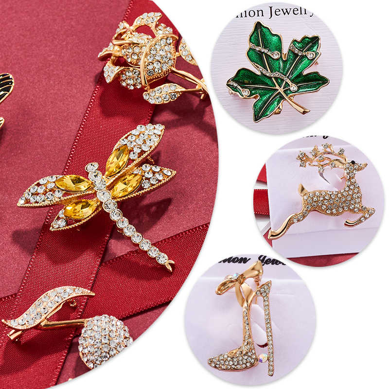 Shuangr Vintage Burung Serangga Bunga Bros Crystal Hewan Kucing Dragonfly Kerah Suit Perjamuan Dekorasi Bros Pin Perhiasan Hadiah