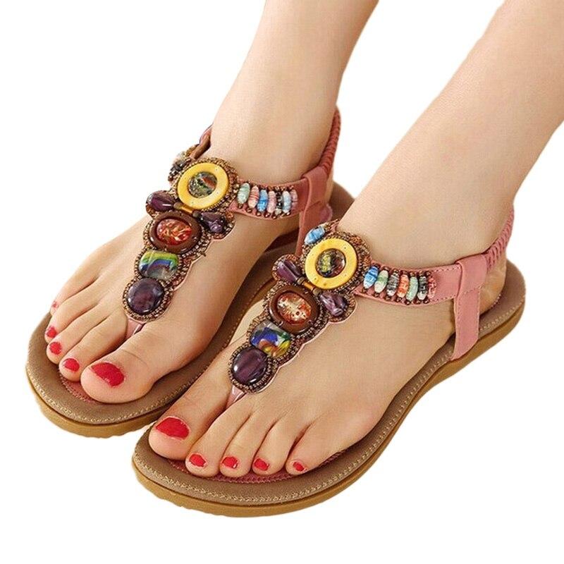 765c93c05 Новые летние туфли на плоской подошве Для женщин пляж Богемия Летние женские  туфли сандалии Туфли;