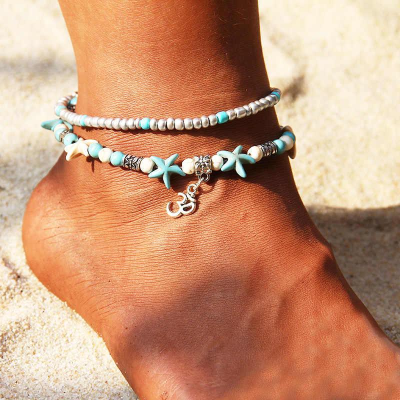 RscvonM ヴィンテージ複数層 OM シンボル波女性ボヘミアンシルバー色アンクレットブレスレット脚に夏のジュエリー