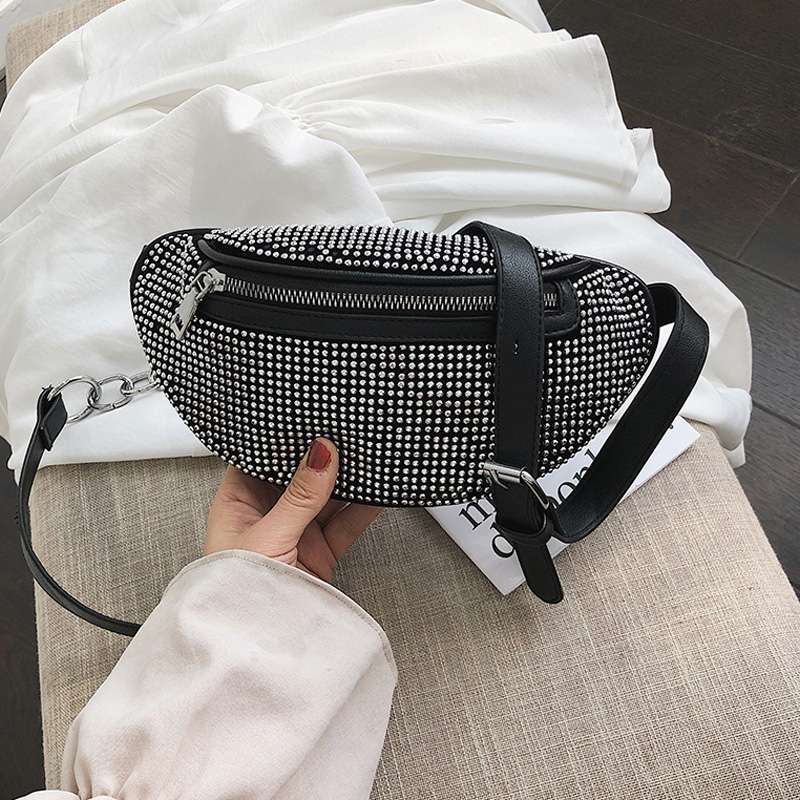 CCRXRQ Women's Waist Bags Diamonds Ladies Fanny Pack Fashion Chest Bag Banana Rhinestone Chain Crossbody Shoulder Bags Belt Bag