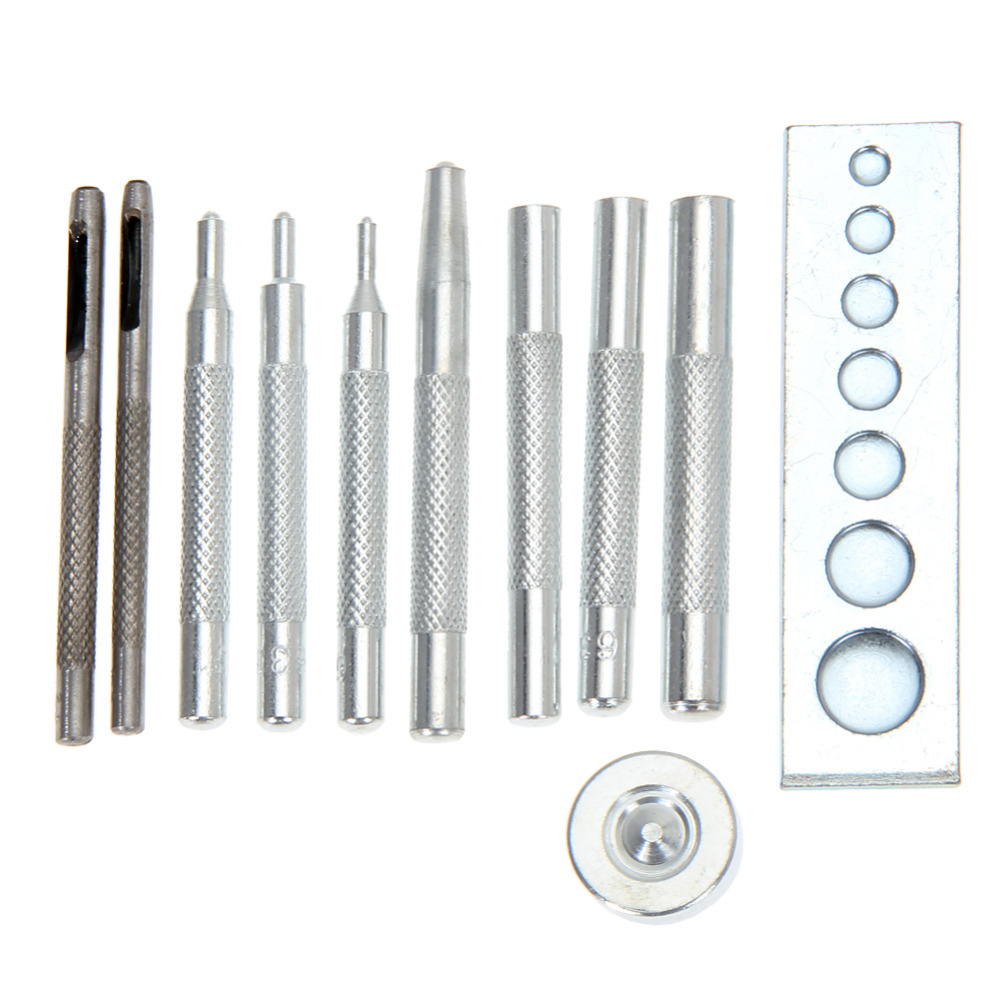 Metal Leather Craft Tool Die Punch Hole Snap Rivet Fastener Button Setter Kit