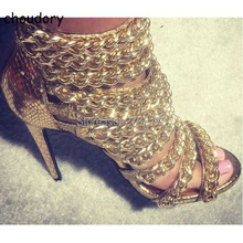 Metal Chain Cut-outs Ankle Booties Peep Toe Spring Autumn Stiletto Woman Gladiator Sandal Boots High Heels Pumps Shoes
