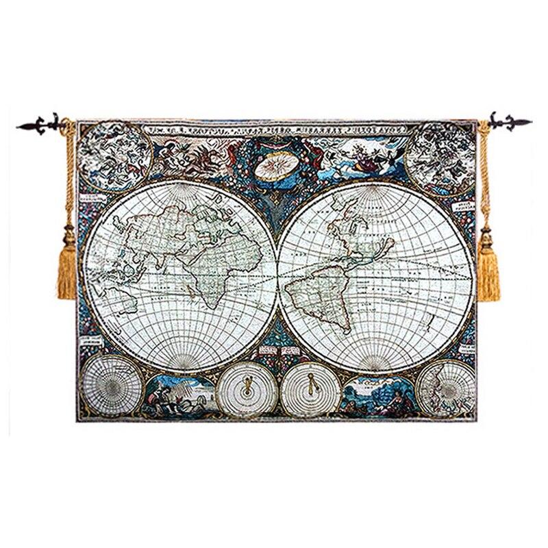 Carte du monde médiéval cartes nautiques Art mur tapisserie photo tissu belgique tenture murale Gobelin décor marocain tapis mural