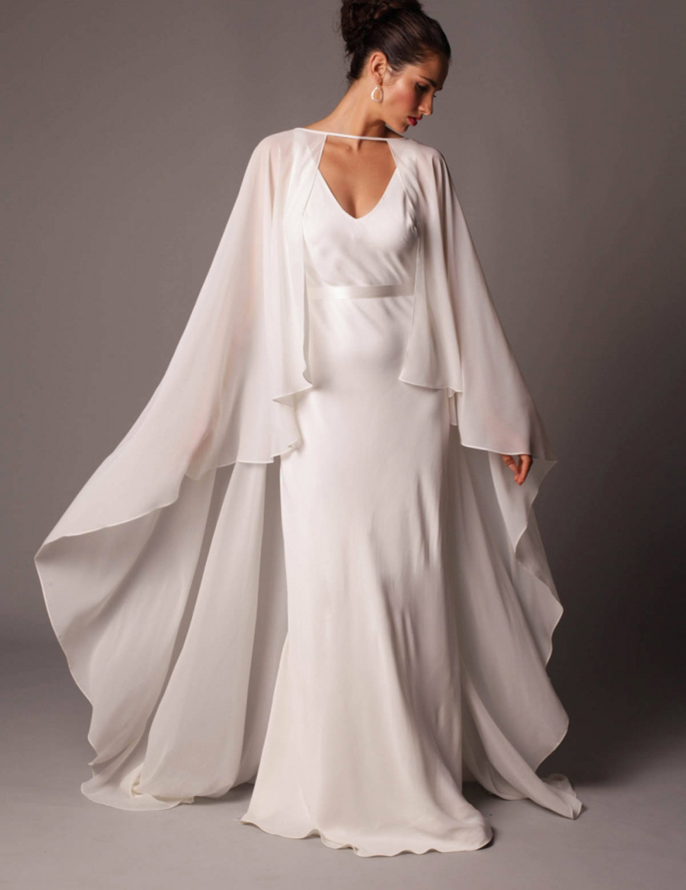 Chiffon Long Gauze Shawl Wrapped In BOLERO Floor-Length Bridal Wedding Jacket New Wedding Capes