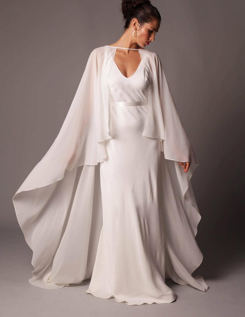 Chiffon Long Gauze Shawl Wrapped In BOLERO Floor-Length Bridal Wedding Jacket New Wedding Capes