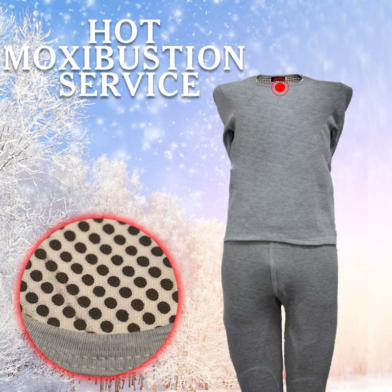 Grey Ladies Men's Underwear Warm Clothing Set Magnetic Warm Underwear Hot Moxibustion Set