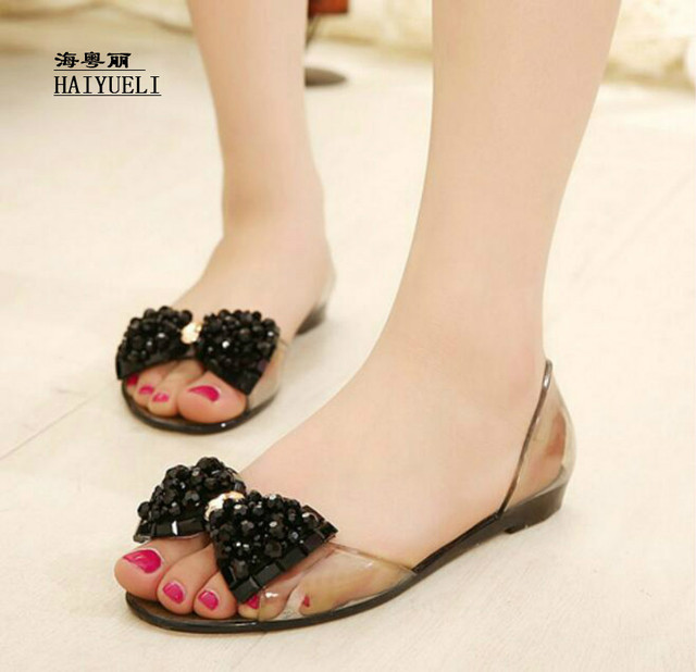 a25bec175ec Melissa Crystal Bling Bow Jelly Shoes Sandals Women s Flat Heel Rhinestone  Transparent Plastic Shoes Flat