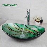 YANKSMART Green Oval Glass Washroom Basin Vessel Vanity Sink Bathroom Mixer Basin Washbasin Brass chrome Faucet Set w/ Drain