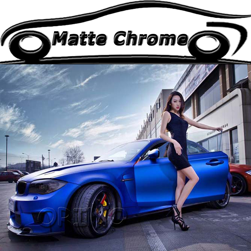 Top Quality Blue Matte Metallic Chrome Wrap Vinyl Film With Air Bubble Free Vehicle Car Body