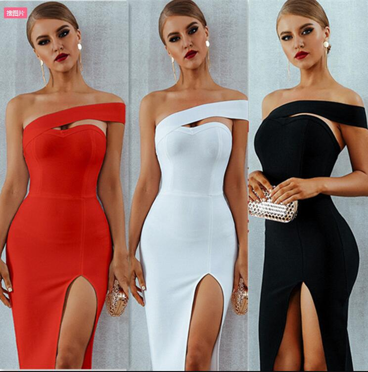 Amazon sold Europe hot style sexy off-the-shoulder split strapless dress with cultivate one's morality dress(China)